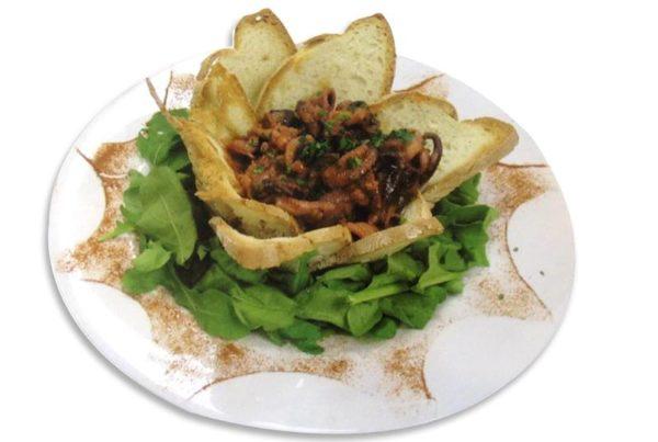 Ricetta Coppette di pane croccante con moscardini